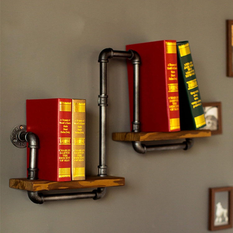 LIAN Storage Rack Storage Shelf Vintage Iron Pipe on The Wall Display Shelf Wall Shelf Flower Pot (color   Brown, Size   Two Floor)