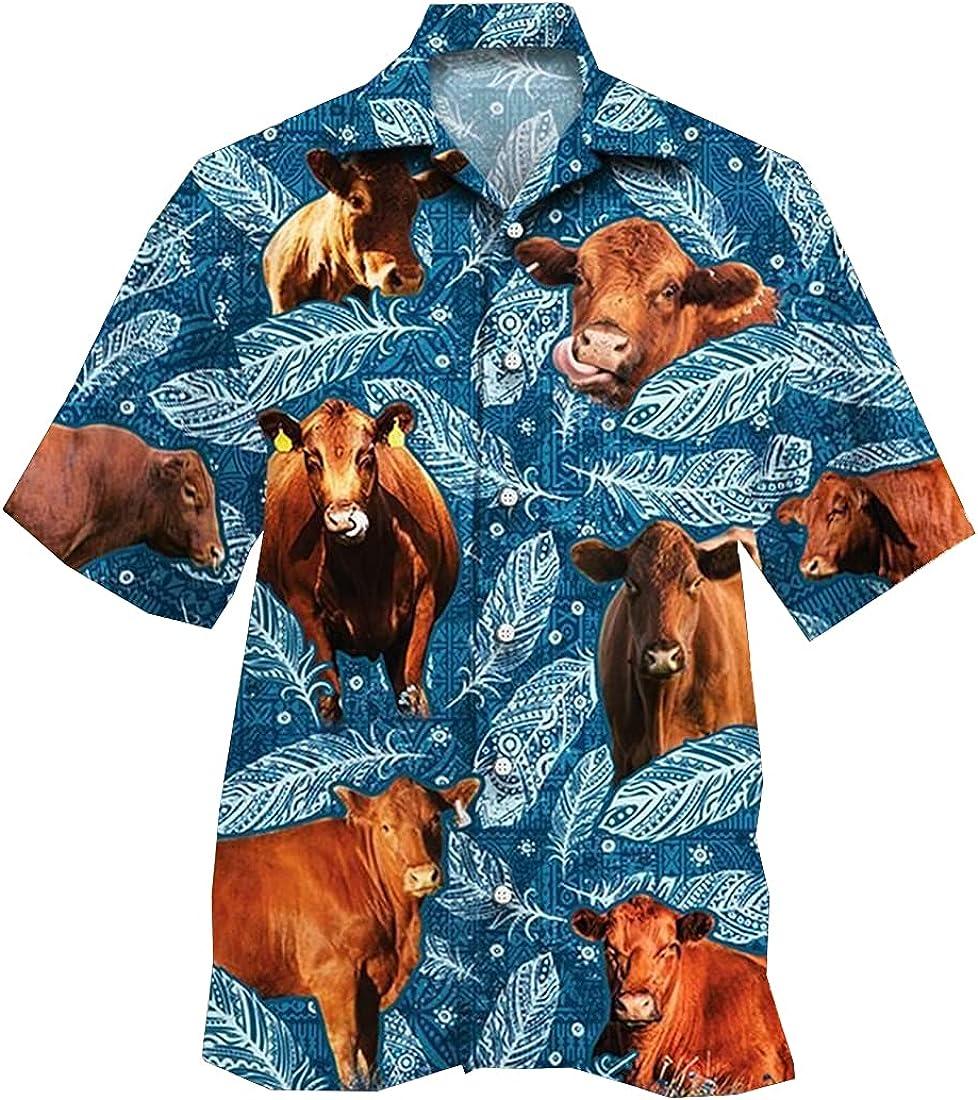 Cattle Hawaiian Shirts for Men Women - Animal Button Down Mens Hawaiian Shirts Short Sleeve Set 205