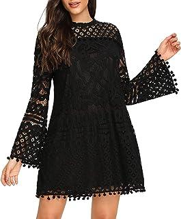 Women's Crochet Pom-pom Sheer Lace Bell Sleeve Dress