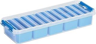Sunware Q-Line Mixed Box – 2,5 l avec 7 paniers (4 x 3 x 0,15 + 0,35 l) – 385 x 141 x 66 mm – Transparent/bleu