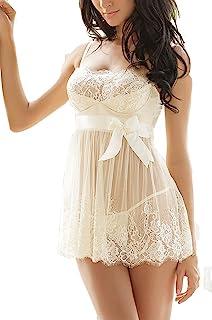 Ruzishun Women's Sexy Lingerie Lace Nightwear Perspective Sleepwear Underwear