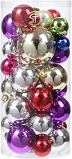 Sea Team Classic Various Sizes Barrel Plating Glaze Finish Solid Color Christmas Balls Ornaments Set Multicolor-choice Festive Hanging Ornaments in Size of 1.57