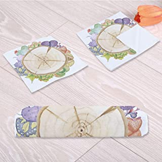 C COABALLA Succulent Printed Towel,Wood Slice Tree Trunk with for Swimming Pool Bathing,One Sided Printing:3 Piece Towel Set