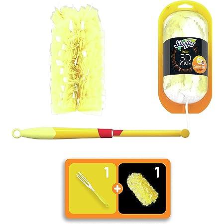Swiffer Duster Plumeau 3D Clean, Kit De Démarrage (1 Manche XXL Et 1 Recharge) Attrape Et Retient La Poussière