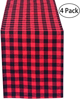 LGHome Pack of 4 Black and Red Buffalo Check Tablerunners, 12x72inch Buffalo Plaid Table Runner for Home, Family Dinner Parties, Thanksgiving and Christmas Decoration
