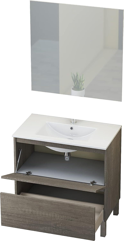 Baikal Conjunto Mueble de Baño con Espejo y Lavamanos Cerámico, de una Puerta y un Cajón, Melamina 16mm, Nebraska, 60 X 46 x 82