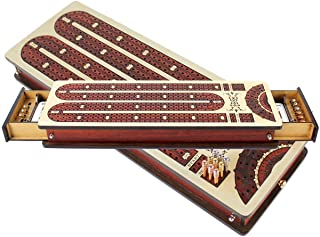 House of Cribbage - 3 Track Continuous Curved Design Cribbage Board / Box - Size : 13.5