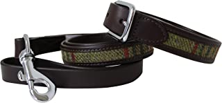 Pell Mell Leather Guild Design Studio Dog Collar & Lead Set in Brown Leather & Green Tweed