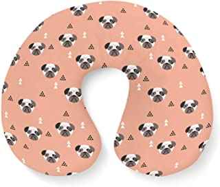 Geometric Pugs Travel Neck Pillow Inflatable