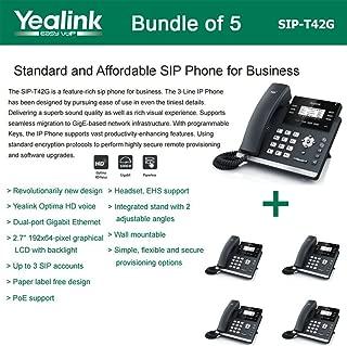 Yealink SIP-T42G 3-Line Ultra-Elegant Gigabit IP Phone (5-Pack)