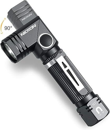 Flashlight, NICRON N7 600 Lumens Tactical Flashlight, 90 Degree Mini Flashlight Ip65 Waterproof Led Flashlight 4 Mode...
