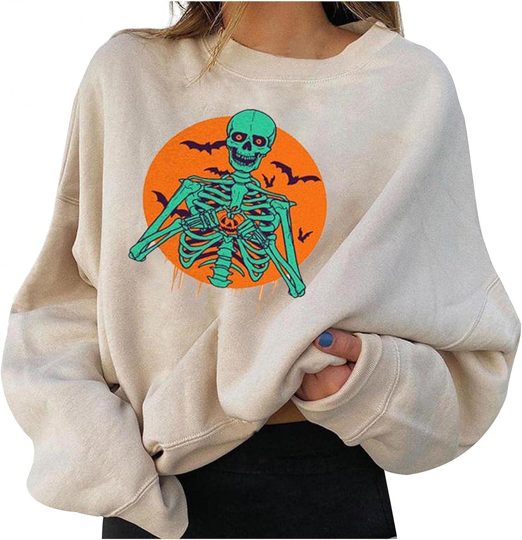 Sweatshirt for Women Hoodies Casual Halloween Sweatshirts Comfy Sweaters Pullover O Neck Oversized Long Sleeve Soft Tops