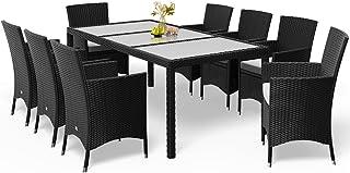 Polyrattan Sitzgruppe Gartenmöbel Set 8 Personen Gartenstuhl Gartentisch 190x90 cm Sitzgarnitur Garten Schwarz