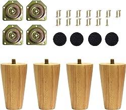 Uni-Fine Houten tafelpoten, 4 stuks, 8 cm, met montageplaten en schroeven voor bank, bed, kast, bank, stoel