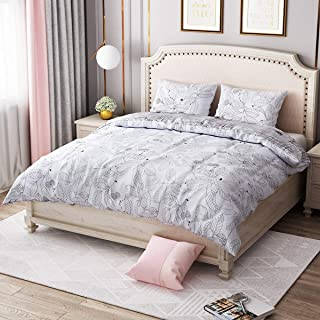 LANGRIA Comforter Set with Leaf and Sketch Print Reversible Design, Ultra Soft and Lightweight Down Alternative Fill All-Season Machine Washable Bedding with 2 Pillow Case (Queen Size)