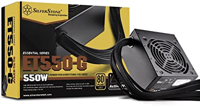 SilverStone Tek 550W 80 Plus Gold Fixed Cable Power Supply with Flat Black Cables and Quiet Fan Curve SST-ET550-G
