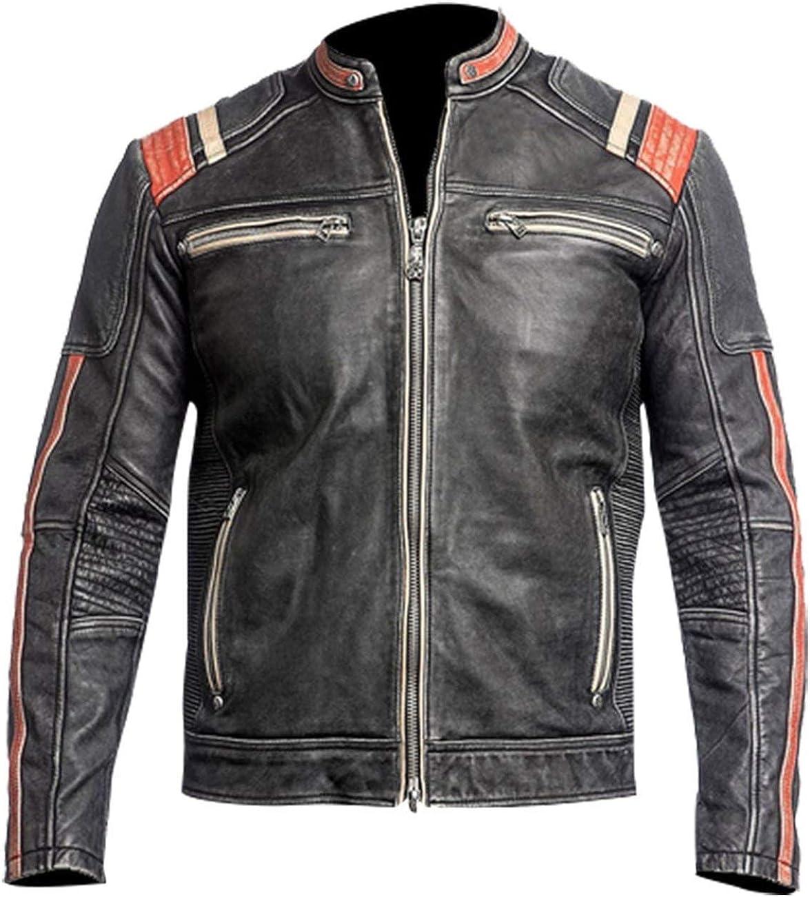 Men's Retro Cafe Racer Distressed Black Vintage Biker Leather Jacket