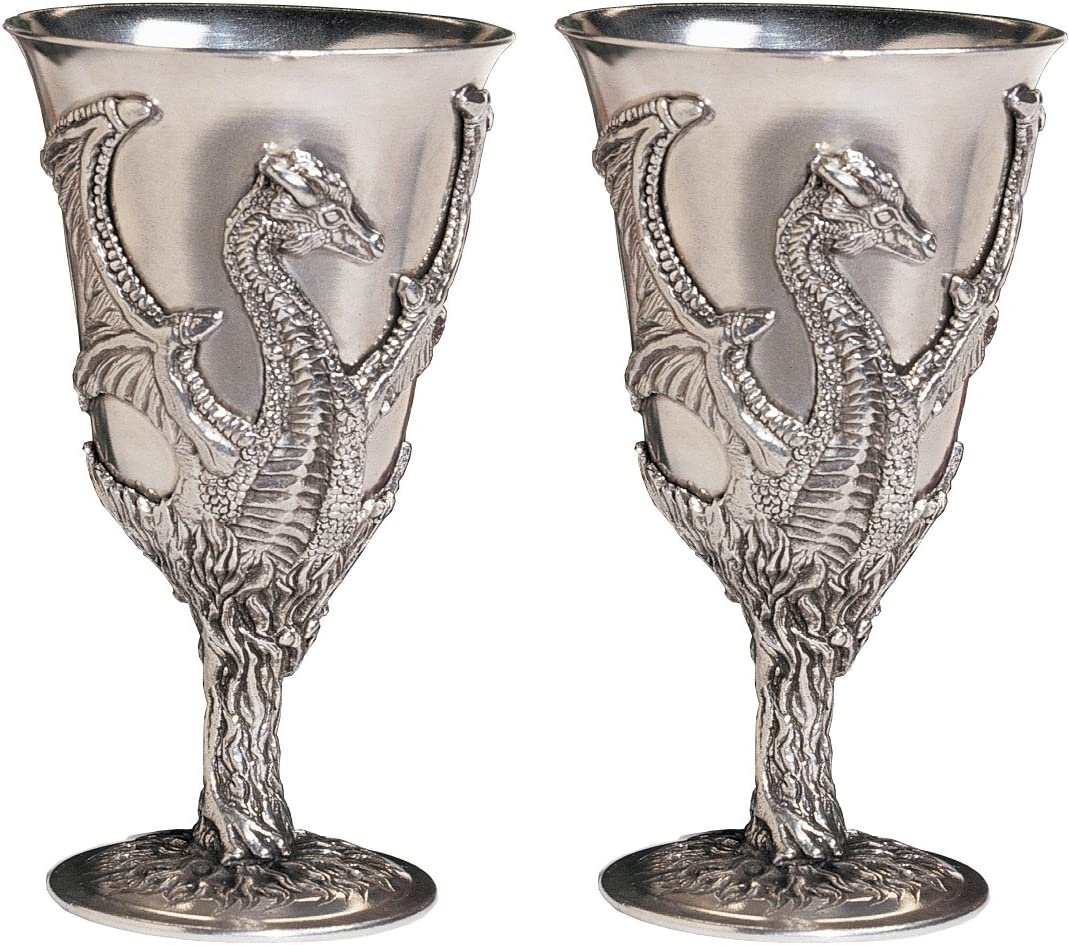 Design Super special price Popular product Toscano Dragon Pewter Goblet Cup Set of Inch 6 with Two