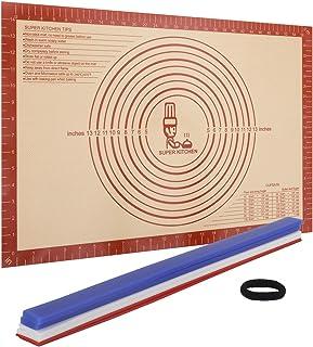 Halkfria silikon bakverk bakmattor 60 × 40 cm med 3 storlekar silikon mätning deg tjocklek remsor (2, 4, 6 mm), kavel guid...