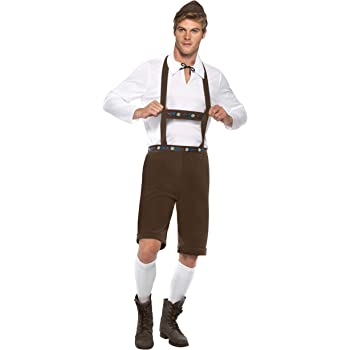 Bavarois Oktoberfest Lederhosen avec broderie en tissu jersey short