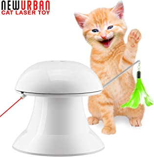 Newurban Cat Laser Toy, 2 in 1 Automatic Non-Handheld Cat Chaser Toy and Interactive Feather Toy, Auto Rotating Light Cat Chaser Toy for Cats and Dogs