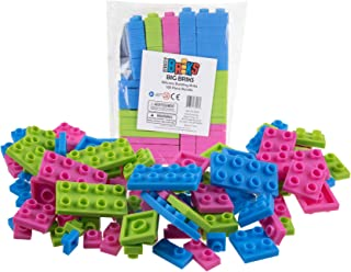 Silicone 108 Piece Flexible Building Bricks by Strictly Briks | 100% Compatible with All Major Brands | Large Pegs for Toddlers | Ages 3+ | Soft and Flexible | Blue, Green, Pink
