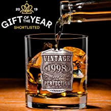 English Pewter Company Vintage Years 1998 21st Birthday Old Fashioned Whisky Rocks Glass Tumbler - Unique Gift Idea For Men [VIN006]