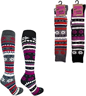 Mujer Rico Algodón Grueso Fairisle Acolchada Calcetines Por La Rodilla Botas De Agua Calcetines Talla UK 4A 7 Ideal Para Navidad