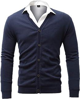 Harrms suéteres para Hombre, 100% algodón, con Botones, Cu