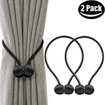 NEXCURIO Magnetic Curtain Tiebacks, 2 Pack Window Tie Backs Holders for Home Office Decorative Rope Holdbacks Classic Tiebacks Design, 16 Inch Long (Black)