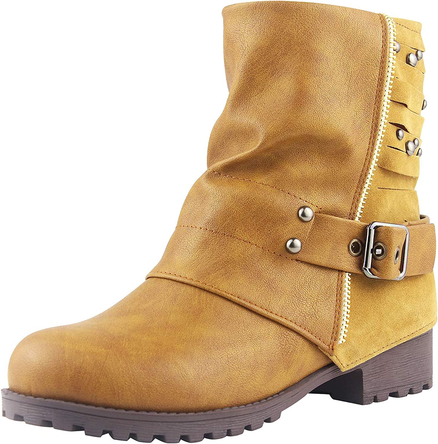 Sekesin Women Ladies Leather Slouch Short Boots Low Heel Winter Western Boots Zipper Martin Chunky Boots
