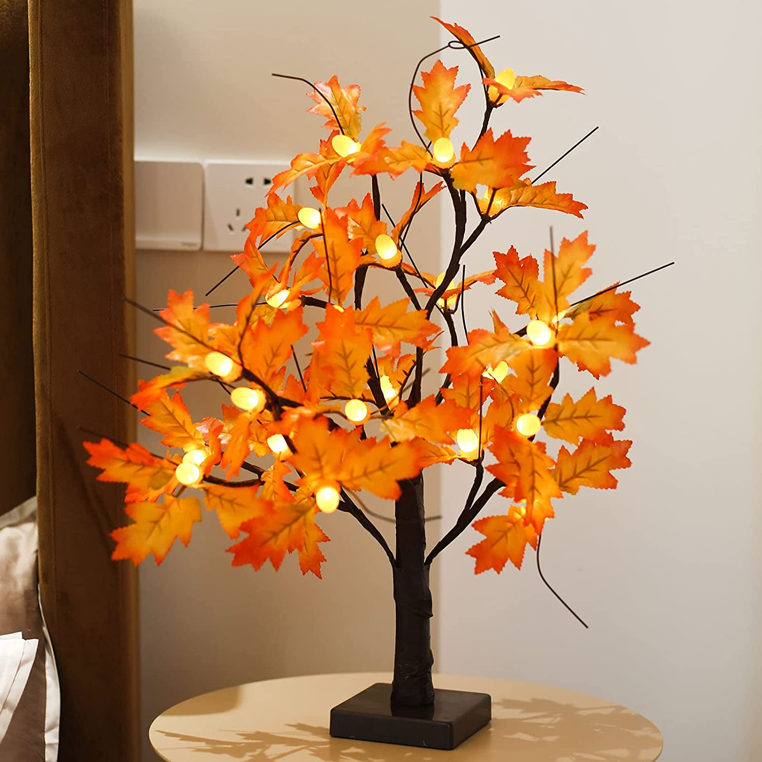 20-inch Fall Lighted Maple Tree, 24 Acorns LED Lights, Battery Operated Thanksgiving Table Decoration Tree, DIY Artificial Tree for Home Desktop Fireplace Autumn Harvest Tabletop Indoor Decor