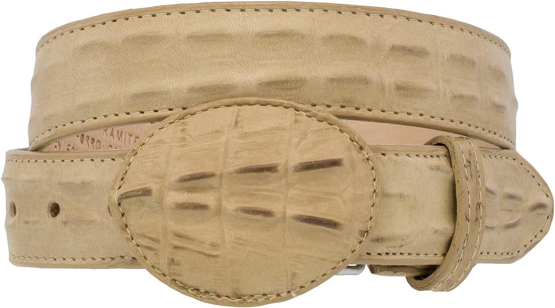 Kids Sand Western Cowboy Belt Crocodile Print Leather Rodeo Buckle