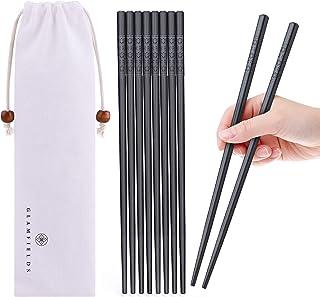 5 Pairs Fiberglass Chopsticks, GLAMFIELDS Reusable Japanese Chinese Korean Chop sticks Dishwasher Safe, Non-slip, 9 1/2 in...