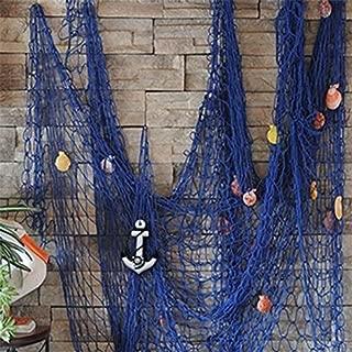 milopon Fischer Red Maritime Dekoration Red de pesca decorativa con conchas colgar Decoración Pared Decoración para Hogar Decoración Fiesta azul azul