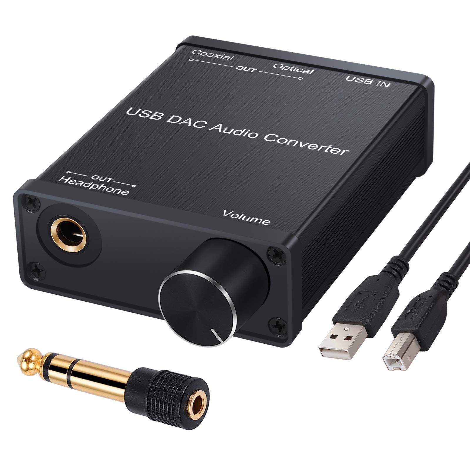 USB DAC Convertidor de Audio USB a Coaxial Toslink Optico Audio Digital a Analógica con Amplificador de Auriculares 6.35mm 16-300Ω Compatible con Windows Mac, PS4, PS3, Xbox 360, Xbox One S: Amazon.es: