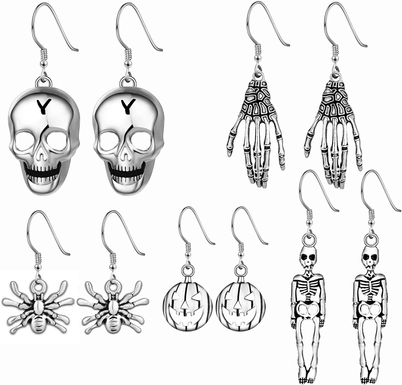 Halloween Theme Drop Dangle Earrings Sets Including Halloween Spider Pumpkin Ghost Bat Moon cat Skeleton Skull Halloween Earrings for Women Girls Kids