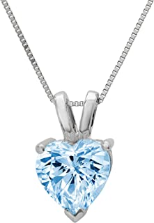 """2.0 ct Brilliant Heart Cut Highest Quality Aquamarine Blue Simulated Diamond CZ Ideal VVS1 D Solitaire Pendant Necklace With 16"""" Gold Chain Box Birthstone Solid 14k White Gold Clara Pucci"""
