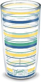 Tervis 1330539 Fiesta - Meadow Stripes Insulated Tumbler with Wrap, Tritan, 16 Fluid_Ounces, Clear