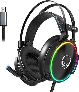 ETWAR Auriculares USB para juegos con micrófono con cancelación de ruido para Playstation PC, auriculares con sonido envolvente 7.1 RGB, luz RGB, marco Steelseries compatible con PS4 Laptop Mac iPad, EG100, color negro