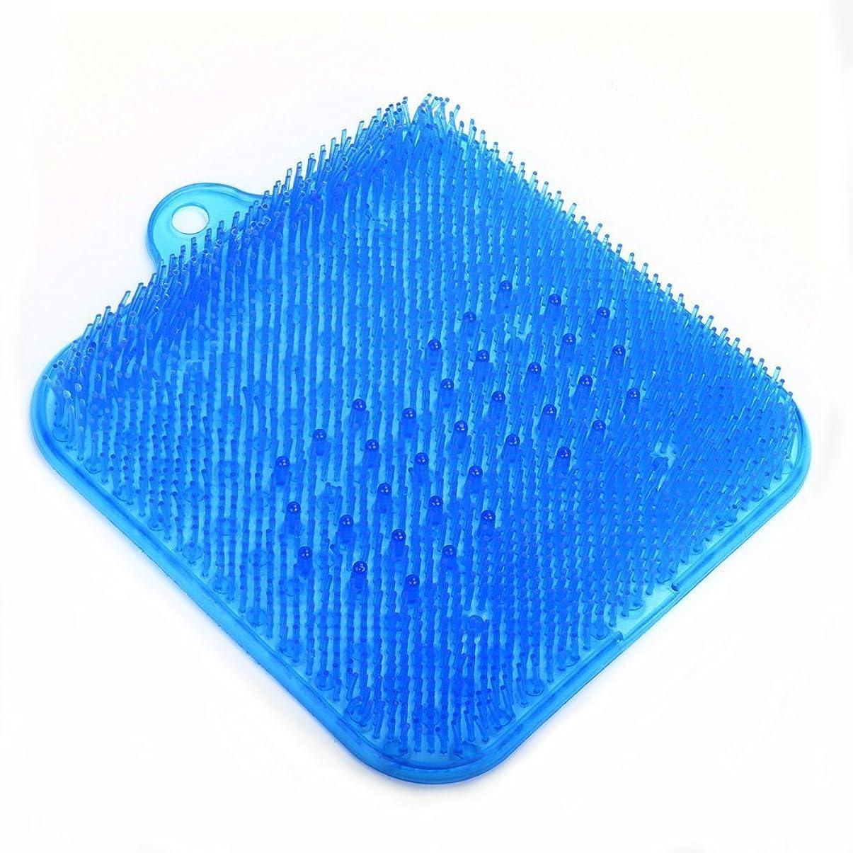 大学院とげ失礼なLIHAO 足洗いマット 足洗い用 バスマット マッサージマット 汚れ角質除去 ストレス解消 壁掛けフック付き ブルー