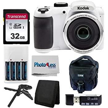 Kodak PIXPRO AZ252 Astro Zoom 16MP Digital Camera (White) + Point & Shoot Camera Case + Transcend 32GB SD Memory Card + Rechargeable Batteries & Charger + USB Card Reader + Table Tripod + Accessories