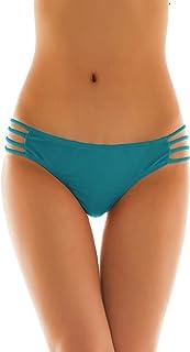 SHEKINI Damen Tanga Bikinihose String Rüschen Brazilian Bikini Slip Schnüren Höschen