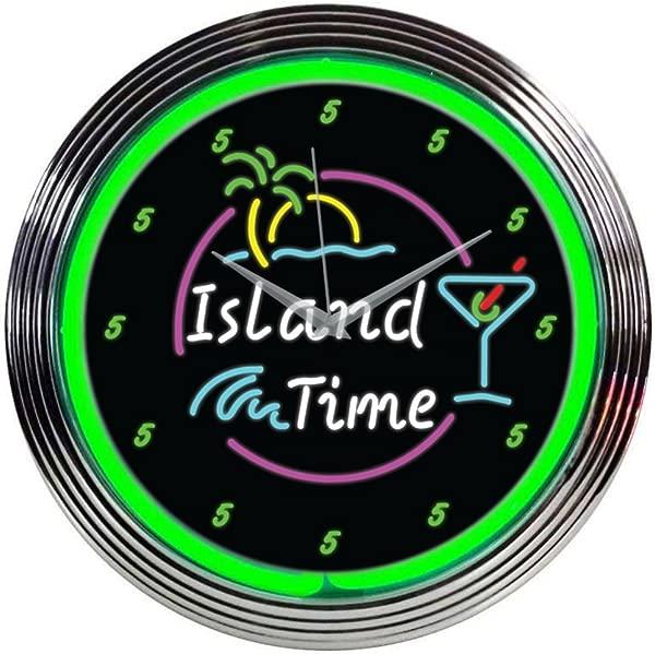 Neonetics Island Time Neon Wall Clock 15 Inch