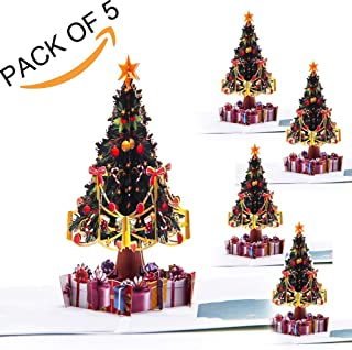 Paper Spiritz Pack of 5 Pop up Christmas Tree Card - 3D Cards Pop up Birthday all Occasion - Thank You Greeting Card for Kids Baby 5 Set