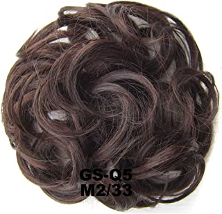 1 Pieces Synthetic Donut Gary Brown Color 30G Hair Bun Pad Elastic Hair Rope Rubber Band Hair Extensions,M2-33