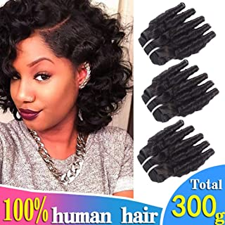3Pcs Brazilian Short Funmi Curly Human Hair Bundles Spiral Curl Hair Weave Short Bob Curly Weave 8A Unprocessed Virgin Human Hair Extensions 100g/pc Natural Color (JQT8 8 10 inch)