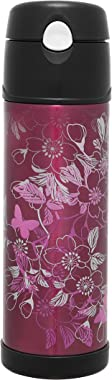 Thermos Stainless Steel Vacuum Insulated Hydration Bottle, 530ml, Floral Magenta, HS4010FMAUS