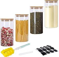 GoMaihe Voorraadpotten set van 4, Voorraaddozen Kruidenpotjes Luchtdichte Glazen Container Gemaakt van Glazen Pot met Deks...