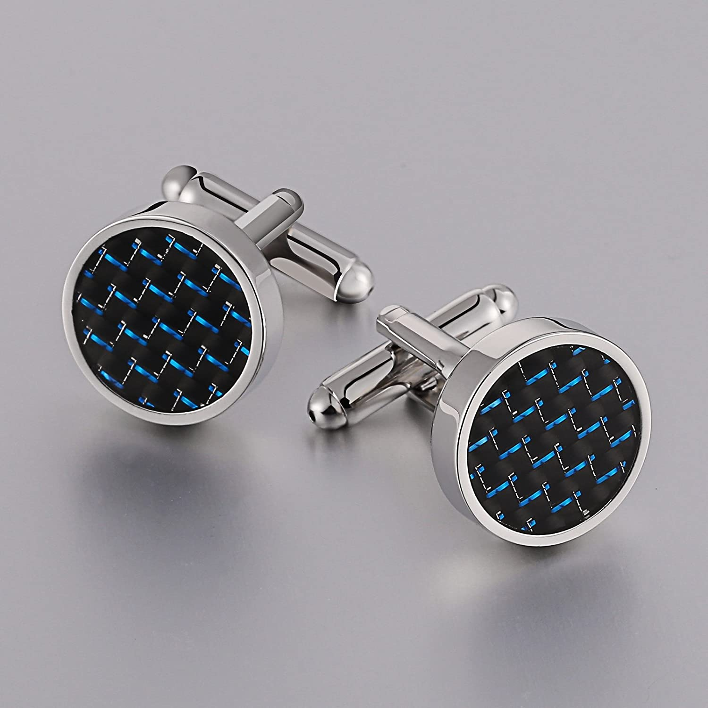 Aienid Jewelry Mens Cuff Link Silver Carbon Fiber Cufflinks Shirt Studs Set Tuxedo Tie Knot